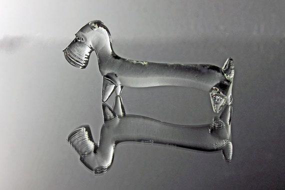 Miniature Glass Dog Figurine, Miniature Schnauzer Art Glass, Hand Blown Art Glass, Clear Glass Figurine, Animal Figurine