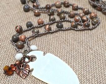 Boho crochet necklace, long beaded crochet necklace - gemstones - shades of rust/gray/topaz, dramatic etched bone pendant, crochet  jewelry