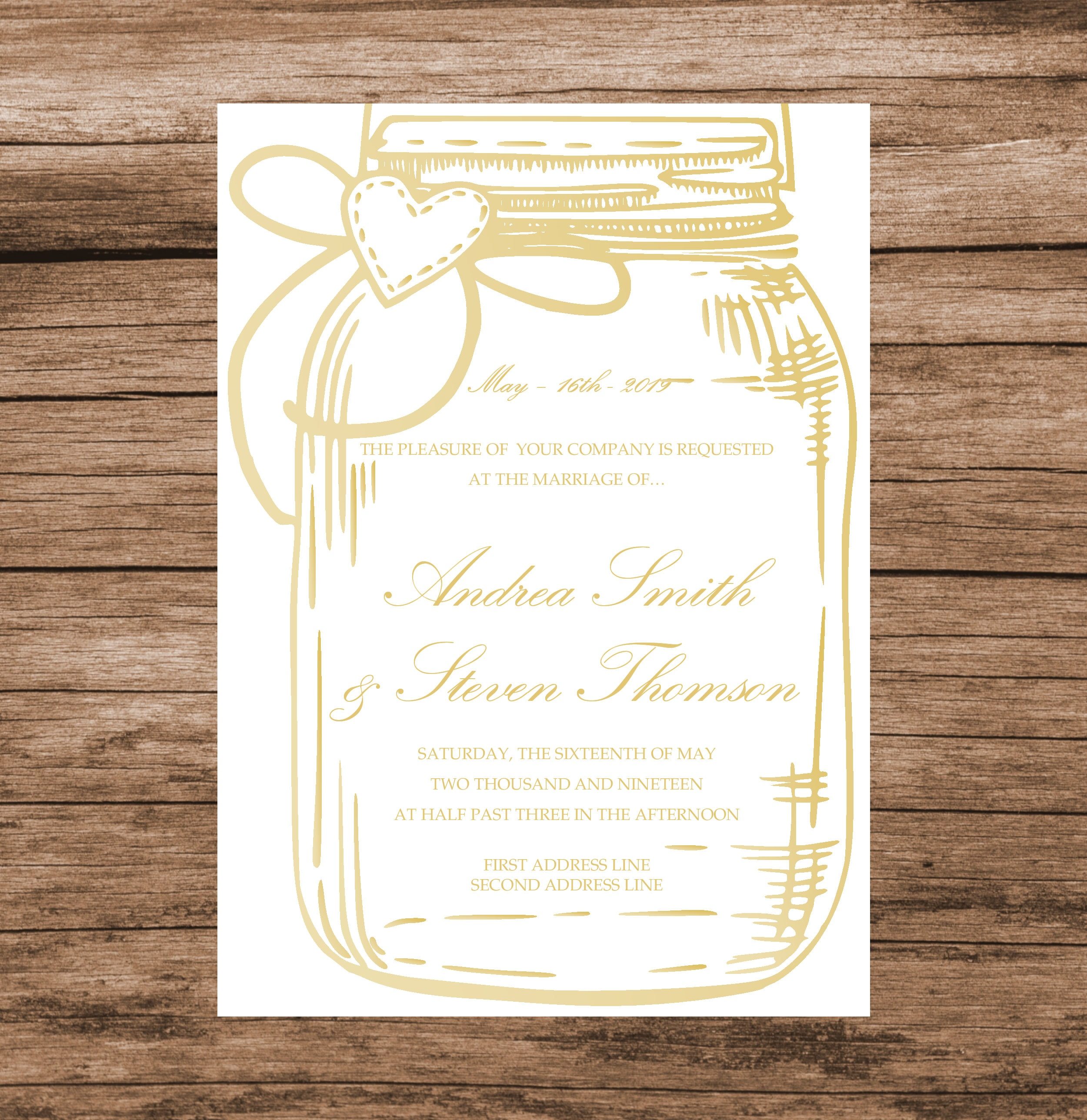Gold Mason Jar Wedding Invitation Template DIY Gold Baby Shower