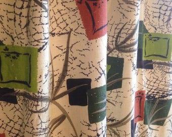 Mid-century Barkcloth Curtain Panel Abstract Net Design