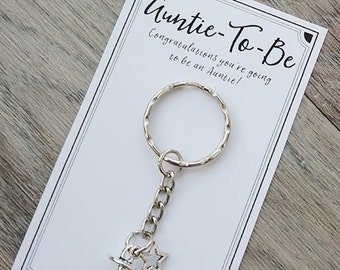 Auntie-to-be baby charm keyring - ideal baby announcement gift!
