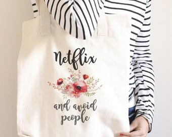 Farmers market tote, funny tote bag, market bag, netflix and avoid people, unique tote, hipster gift, zipper tote bag, back to school