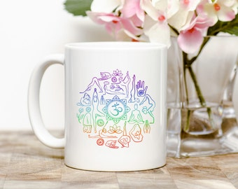 Yoga 11 ounce ceramic coffee mug.