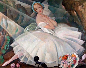 "Gerda Wegener ""The Ballerina Ulla Poulsen in the Ballet Chopiniana Paris"" 1927 Reproduction Digital Print Vintage Print Ballet Dancer"