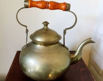 Vintage Brass Kettle with Wood Handle