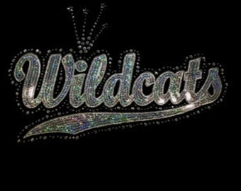 Wildcats - Silver or Gold or Blue or Red or Orange or Black - Mascots - Iron on Transfer - Sequin and Rhinestone - J8058