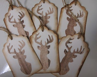 "6- 2 1/4""x 3 3/4"" Rustic Deer Tags-Rustic Christmas Tags-Deer Head Gift Tags-Party Favor Tags"