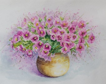 Still Life, Wedding gift art, pink wall art, Flowers painting, Original Watercolor Painting, floral art, watercolor flowers, aquarelle art