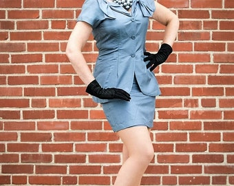 Beautiful steel blue 2 piece suit FREE SHIPPING from RCMooreVintage