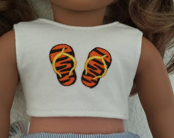 """White Crop Top with tiger print flip flop applique for 18""""Girl Dolls - 18inch doll clothes - White sleeveless crop top  - doll top"""