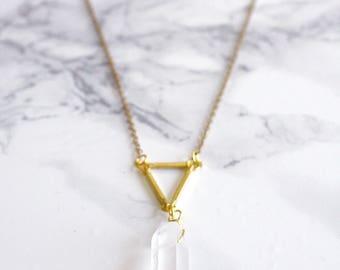 SCIORA - Quartz and brass triangle necklace