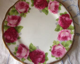 Old English rose bread plate