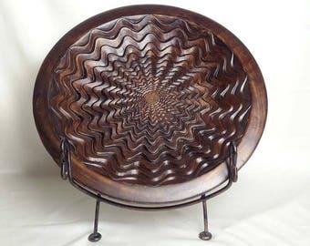 "Large Decorative Ceramic Flower Sunburst Plate 21"""