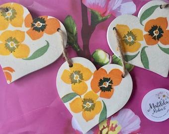 Emma Bridgewater Yellow Wallflower Wooden Heart Garland/Bunting