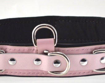 Premium Padded Leather Waist Restraint - Pink/Nickel - BDSM/Fetish/Cosplay