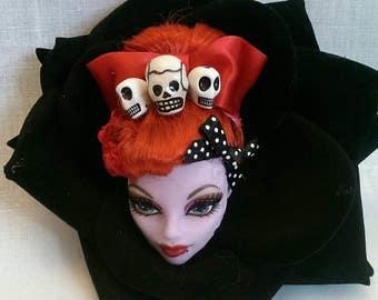 Red psychobilly  monster high doll head in black rose fascinator