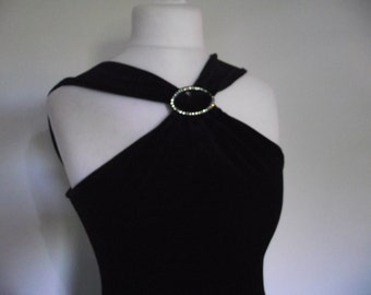 Vintage dress 80s Ariela Black velvet evening dress with rhinestone detail size  medium