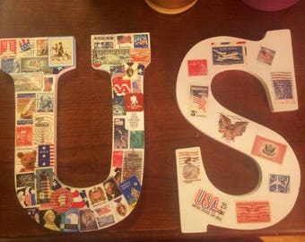 In Progress: U.S.A Wood Letters Wall Hanging or Mantle Piece
