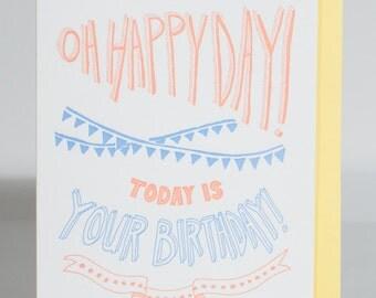 Hand-lettered Happy Birthday Letterpress Greeting Card, Handmade A6 Letterpress Card