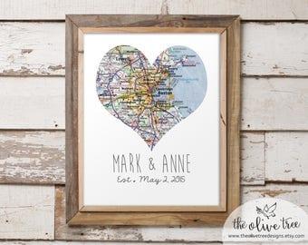 Customized Heart Map Art Printable, Single Map, DIGITAL Custom Personalized Printable, DIGITAL FILE Wedding decor, Marriage, love