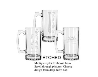 Etched Groomsmen Beer Mugs, Personalized,  Custom Groomsmen Beer Mugs, Unique Groomsmen Mugs, Beer Mug Glasses, Etched Mugs