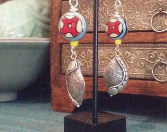 Sterling silver and ceramic earrings