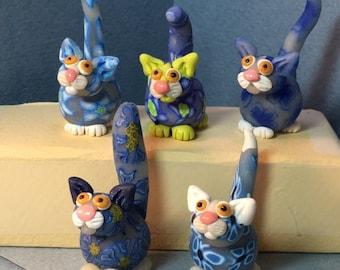 Flower Power Felines, Blue Series cat miniatures