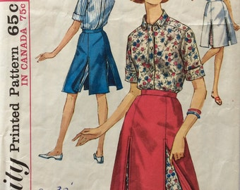 Simplicity 5284 misses shirt and skirted shorts size 12 bust 32 waist 25 vintage 1960's sewing pattern