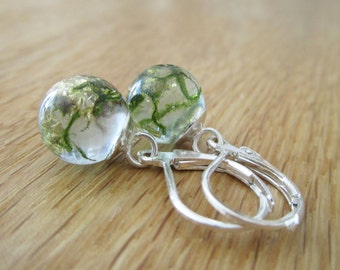 Earrings with MOSS and gold leaf