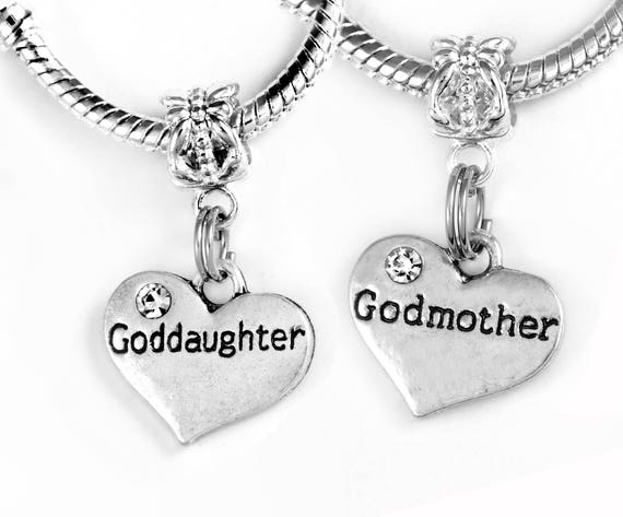 Gift For Goddaughter Birthstone Necklace Sterling By: 2 Godmother Goddaughter Charms (Charms Only) Godmother