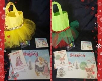 Personalised Christmas Table Bundle (Place mat, Children's Activity Pack, Tutu Bag)