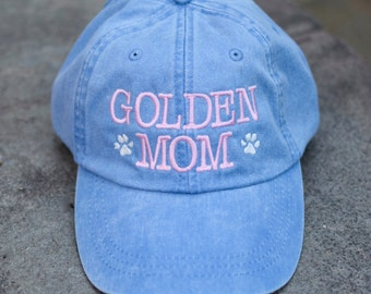 Golden Mom Baseball Cap || Any Breed Dog Lover Embroidered Hat with Paws || Dog Mom Monogram Gift by Three Spoiled Dogs Made in USA