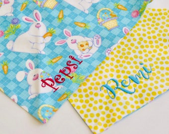 Hippity Hop Bunnies Easter Dog Bandana    Aqua Argyle Pet Scarf    Personalized Puppy Gift by Three Spoiled Dogs
