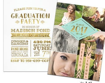Tribal Senior Graduation Announcement &  Graduation Party Invitation for Girls.Customized for you! Gold, Peach, Mint, Teal ,Coral.