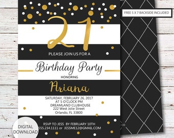 21st Birthday Invitation, Black and Gold, 21st Party Invitation, Twenty First Birthday, Printable Invite, Digital Download