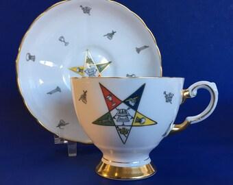 Tuscan Eastern Star Masons Bone China Tea Cup and Saucer England