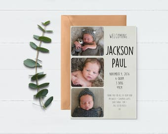 Birth Announcement - Baby Collage - Baby Announcement - New Baby Card -  Baby Thank You Card - Photo Announcement - Baby Birth Card - Unisex
