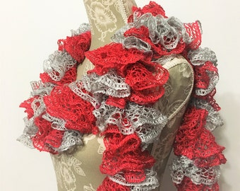 Red Grey Scarf, Crochet Scarf, Ruffle Scarf, Red Scarf, Sashay Scarf, Crochet Ruffle Scarf, Handmade Scarf,  Gift for Her, Scarf Team Spirit