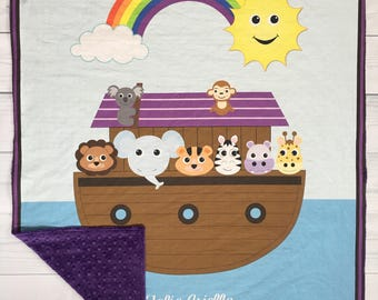 Personalized Noah's Ark Blanket, Customized Baby Blanket, Custom Blanket for kids, Boy Girl, Noah's Ark, Baby Gifts, Blanket with name