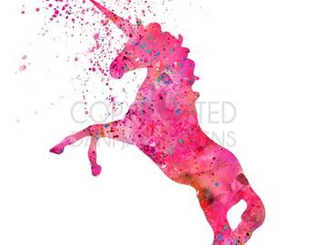 Girls Unicorn Pink Nursery Decor Pink Unicorn Printable Set of 3 images