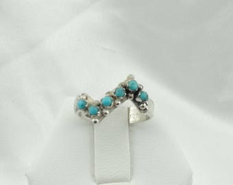 """Hallmarked """"dP""""  Zigzag Southwest Native American Sterling Silver Turquoise Ring Size 6 #ZIGZAG-SR3"""