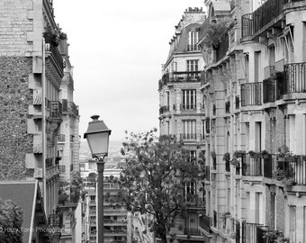 Paris Photography, Wall Art Print, Montmartre, Paris Decor, France Photo, Black White Print, Paris Picture, Living Room Art, Wall Decor