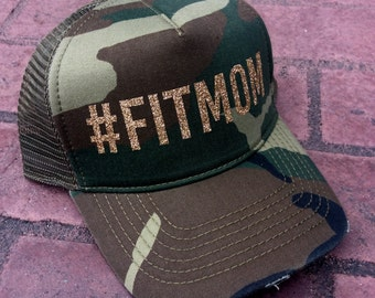 hashtag Fitmom gold trucker hat baseball cap snap back