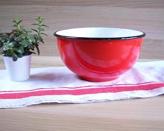 Red enamel Japy salad bowl vintage | made in France 1950