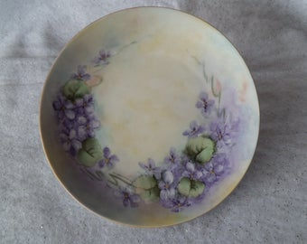 "Vintage Purple Violets Tirschenreuth Hand Painted Plate Bavaria Germany Flowers with Green Leaves 8 1/2"" Gift to Display Viola ~ 7943a"