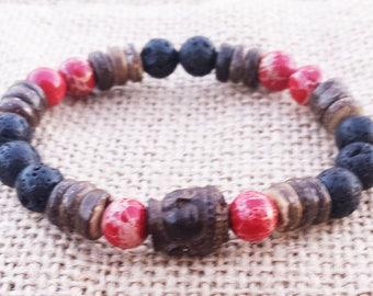 Wood Mala Driftwood Carved Buddha Bracelet Coconut Wood Bracelet Surfer Bracelet Summer Men Buddhist Mala Jasper Gemstones bracelet
