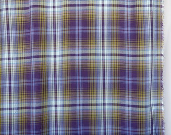mustard yellow and purple plaid lightweight cotton - clothing, shirting or curtain fabric