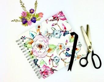Floral scrapbook album, guestbook, photo album, blank scrapbook, scrapbooking craft supplies