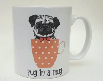 Pug in a Mug Funny Pug Mug Pug Mug Pug Lover Pug Gift Coffee Mug Dog Lover Elf Pug Birthday Gift