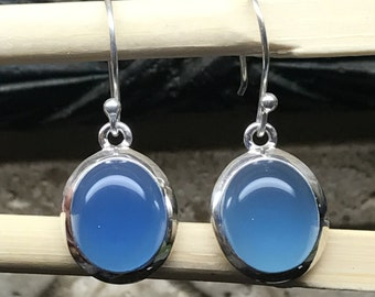 Natural Blue Chalcedony 925 Solid Sterling Silver Dangle Earrings 25mm